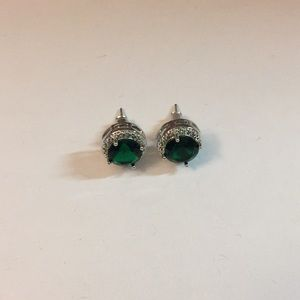 Simulated Emerald Silver Plated Stud Earrings